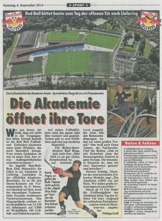 """Report in """"Kronenzeitung"""" newspaper dated September 6, 2014 about the new RedBull Academy in Salzburg / Austria, where next to lots of other high tech equipment also 20 h/p/cosmos treadmills model quasar have been installed. Thanks a lot to RedBull Austria and to our Austrian distributor Süssmed."""