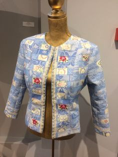 Up cycled Linen Tablecloth Jacket. Pieced and embroidered linen tablecloths.Created by Linda Lloyd-Willis for EMEG Kickstart Programme 2017