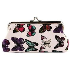 Kiss Lock Butterfly Print Clutch Bag ($4.79) ❤ liked on Polyvore featuring bags, handbags, clutches, kiss-lock handbags, pink purse, kiss lock purse, butterfly handbags and kisslock purse