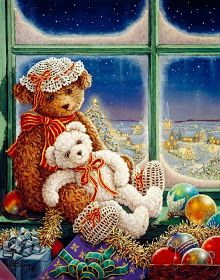 Teddy Bear Paintings Gallery Page Offering original oil paintings and personally enhanced canvsas transfers hand by Janet Kruskamp