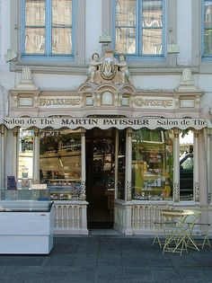 Cocos Collection: Patisserie, Morlaix, France ~ by Larry Myhre Boutiques, Shop Facade, French Cafe, Shop Around, Shop Fronts, City Lights, Location, Vintage Modern, Beautiful Places