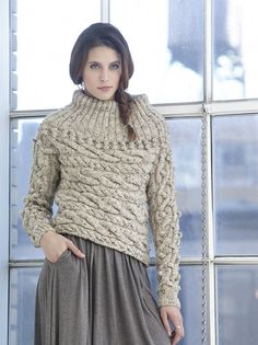 Sideways Cable Pullover in Lion Brand Vanna's Choice - L32178. Discover more Patterns by Lion Brand at LoveKnitting. The world's largest range of knitting supplies - we stock patterns, yarn, needles and books from all of your favourite brands.