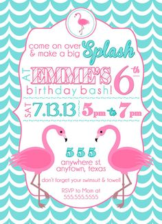Custom Girl Swim Party Invitation Swim party invitations Party