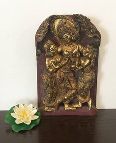 Unique Vintage Hand Carved Piece with Gold & Mirror Work from