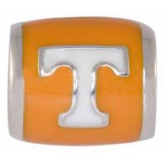 "Teagan Collegiate Collection Bead: University of Tennessee White ""T"" on Orange Bead 925 Silver & Enamel.  This is a ""Teagan"" bead and it is compatible with Pandora, Biagi, Zable, Brighton, Troll and many other European style bracelets. As with any Teagan Bead, it is a high quality nice weight bead."