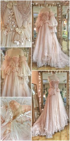 Lace Wedding Dresses Yoake blush tulle and lace wedding dress with ribbon details by Joanne Fleming Design - blush tulle and lace wedding dress with vintage ballerina pink ribbon details and gathered detachable sleeves for a romantic fairytale bride Vestidos Vintage, Vintage Dresses, Vintage Ball Gowns, Lace Bridal, Bridal Gown, Fantasy Gowns, Fairytale Dress, Fairy Dress, Mode Outfits