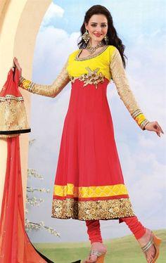Pink Color Traditional Anarkali Churidar Kameez Set HSPFEA4113 - www.indianwardrobe.com