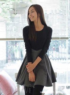 Vogue delgado coreano de gran tamaño de la princesa vestido de manga larga