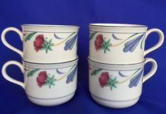 Lenox Poppies On Blue Coffee Cups Set of 4 Chinastone Tea Blue Red #Lenox