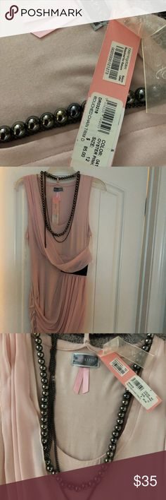Never worn! Tags still on. Lipsy London Rouched Chain Trim fitted dress. Oyster pink. Bought at Bloomingdales. Never worn. UK size 12 but US 8 (very fitted 8) Lipsy Dresses Mini