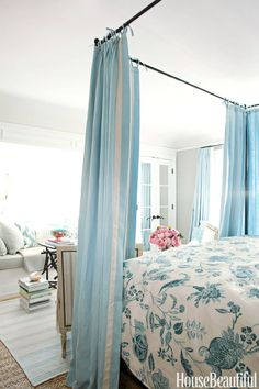 Blue White Floral Bedding - Mark D Sikes House - House Beautiful