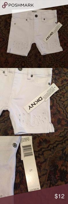 Toddler DKNY Short Size 2T white Bermuda DKNY shorts with a cute embroidered pattern on the bottom of each leg. Cheaper on Merc. DKNY Bottoms Shorts
