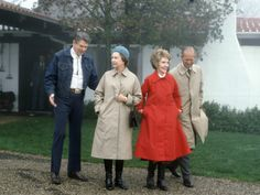 Reagan in cowboy jeans, the Queen and Price Philip in trench coats, 1983. This picture is killing me. | Should Politicians Ever Wear Jeans? - Slate Magazine