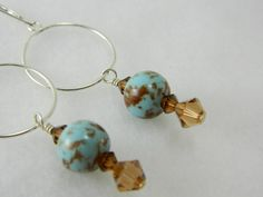 Blue and brown handmade porcelain bead earrings, sterling silver  | Lundela - Jewelry on ArtFire