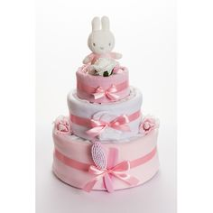 Miffy the Bunny Pink 3 Tier Nappy Cake | GiftWrappedandGorgeous.com Featuring the popular Miffy the Rabbit, our gorgeous 3 tier pretty in pink nappy cake is a gift to be remembered and will make an adorable centrepiece for a baby shower or maternity leave party. £70.00