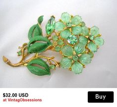 Flowered Brooch Green Rhinestone Molded Lucite Pin