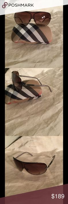Beautiful Burberry shield sunglasses 🌟Beautiful Burberry shield sunglasses with Taupe arms with the Burberry logo in silver. These come with the cleansing cloth & hard case. Burberry Accessories Sunglasses