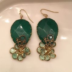 Anthropologie Emerald Green Drop Earrings Unique earrings in a beautiful green color. Perfect way to dress up any outfit! Anthropologie Jewelry Earrings