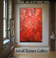 Abstract Painting 34 x 44 Custom Original Heavy Textured Impasto Red Gold Oil by Je Hlobik via Etsy
