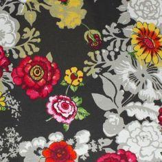 Coton enduit à fleurs beige et rose sur fond brun