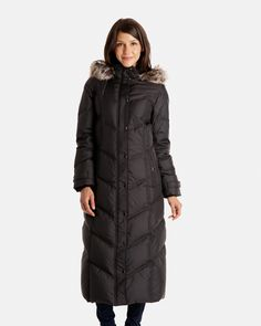 Blake Full Length Down Coat with Detachable Faux Fur Trimmed Hood