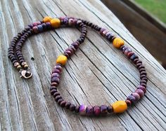 Crazy Horse Jasper and Wood Beaded Necklace  by Angelof2, $26.50