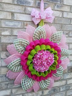 "Pink & Green ""Tressa"" mesh flower wreath - My Original Design on Etsy Jute Flowers, Burlap Flower Wreaths, Mesh Ribbon Wreaths, Fabric Wreath, Deco Mesh Wreaths, Burlap Wreath, Sunflower Wreaths, Wreath Crafts, Diy Wreath"