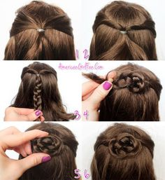 American Girl Doll Hairstyle Half-Up Braided Bun - Diy Doll Hair Braided Hairstyles Updo, Ag Doll Hairstyles, American Girl Hairstyles, Little Girl Hairstyles, Summer Hairstyles, Cute Hairstyles, Summer Haircuts, Braided Updo, Simple Girls Hairstyles
