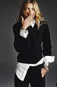 Jessica Hart in 3.1 Phillip Lim | Sunday Style AU April 2013  Love the untucked shirt and cuffs rolled-up. Black and white. Just taking a so so outfit to another level.
