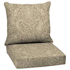 Attractive Garden Treasures Neutral Stencil Glenlee Damask Deep Seat Patio Chair  Cushion For Deep Seat Chair