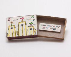 """Cartão de aniversário do partido do gato / aniversário Matchbox / presente de aniversário do gato / """"Parabéns a você"""""""