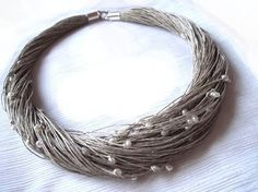 linen and river pearl necklace #necklace #etsy $45 by fanny