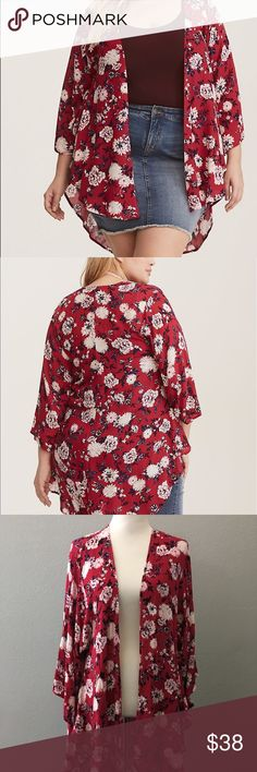 7883be8736e6f Torrid shirttail red floral Kimono 3 4 Excellent condition torrid red  shirttail (long back