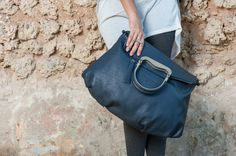 Blue Gray Leather Tote Bag / Women Leather by EllenRubenBagsShoes