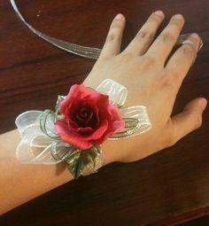 Be My Valentine  Red Rose Wrist Corsage / Brooch / by JKClayArts, $33.00