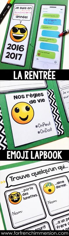 French Emoji Back-to-school Lapbook: great way to start the school year off… Teaching French, French For Beginners, First Day Of School Activities, French Education, Core French, French Classroom, School Grades, French Immersion, Interactive Notebooks
