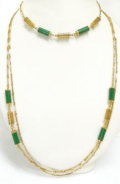 Long or short faux jade green Asian Chinese style necklace. Mix and match 3 strands. Vintage jewelry.  $48.00