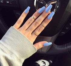 Find images and videos about blue, nails and rings on We Heart It - the app to get lost in what you love. Gorgeous Nails, Love Nails, How To Do Nails, Pretty Nails, Fun Nails, Matte Nails, Acrylic Nails, Blue Coffin Nails, Nail Ring
