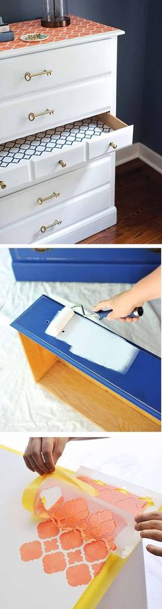 Check out 14 DIY Furniture Stenciling Projects | DIY Dresser Makeover by DIY Ready at http://diyready.com/14-diy-furniture-stenciling-projects/