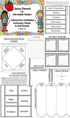 Literary Elements Foldables and Fun! Nice collection of foldables for reinforcing and practicing identification of character, setting, conflict/problem, and resolution/solution. Can't wait to use this in my classroom!
