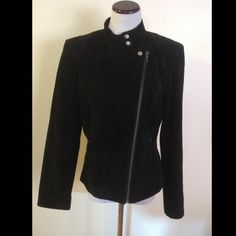 Suede leather black Jacket Large Zips up and buttons at the collar. Really cute and in mint condition besides a tiny flaw near the zipper as shown in the photos. Great lines and very nice quality! Size large. Smoke free home! Alfani Jackets & Coats