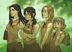 Harry Potter / Genderbend - James, Sirius, Remus and Peter (by maaria)