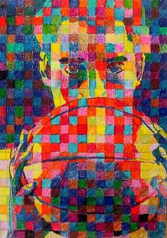 Once again we are given a terrific example of grid artwork from Chuck Close. I love how this photo doesn't try to represent a person in their true form. Rather the artist used an array of beautiful colors to create the image. Image by Chuck Close Grid Chuck Close, Op Art, Arte Elemental, Kunst Der Aborigines, Classe D'art, 7th Grade Art, Art Tumblr, Art Simple, Ecole Art