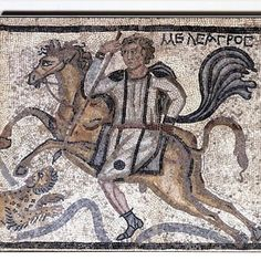 Part of a panel from a mosaic pavement: Meleager on horseback spears a leopard, century CE, British Museum Early Christian, Christian Art, Ancient Rome, Ancient Art, Byzantine Art, Byzantine Mosaics, Germanic Tribes, Greek And Roman Mythology, Archaeological Discoveries
