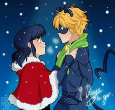 Marinette gives Cat Noir a green scarf for Christmas in the snow from Miraculous Ladybug and Cat Noir Ladybug Y Cat Noir, Ladybug Comics, Miraclous Ladybug, Miraculous Ladybug Christmas, Miraculous Ladybug Fan Art, Lady Bug, Los Miraculous, Mlb, Marinette Ladybug