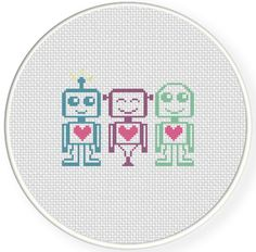 FREE for April 10th 2014 Only - Three Robots Cross Stitch Pattern