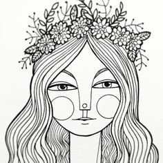 Girl wearing a floral crown: daily drawing by Kim Bonner