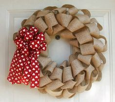 Valentine's Day burlap wreath