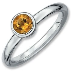 Sterling Silver Stackable Expressions Low 5mm Round Citrine Ring