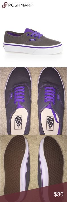 492554d2bc Grey and Purple Vans Grey vans with purple detail and purple laces. In  perfect condition